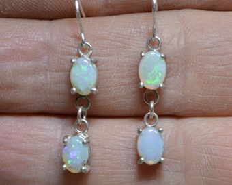 Australian Opal and Silver Dangle Earrings, Long Opal Drops
