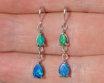 Silver Teardrop Opal Doublet Earrings, Australian Opals