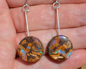 Large Silver Boulder Opal Earrings, Australian Opal