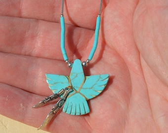 Silver and Turquoise Thunderbird Necklace With Feathers