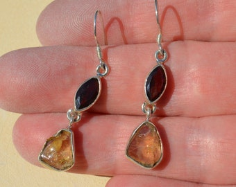 Silver Garnet and Citrine Drop Earrings, Mismatched