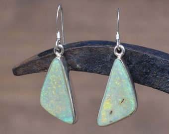 Large Triangular Silver and Opal Earrings