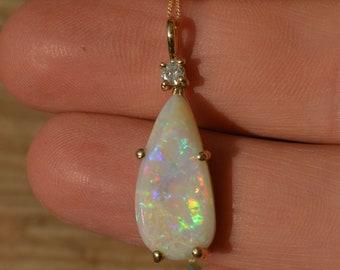 9ct Gold, Teardrop Australian Opal and Diamond Pendant