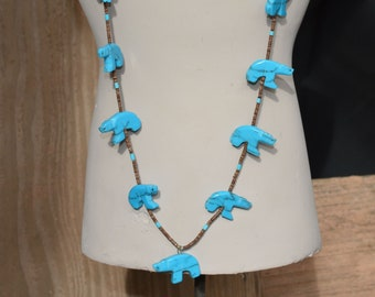 Zuni Turquoise and Agate Bear Fetish Necklace, Hand carved