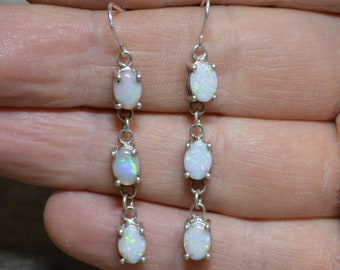 Long Australian Opal and Silver Drop Earrings, Oval Opals