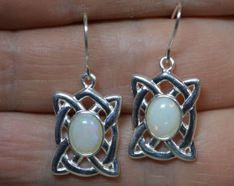 Silver and Opal Celtic Drop Earrings, Australian Opal