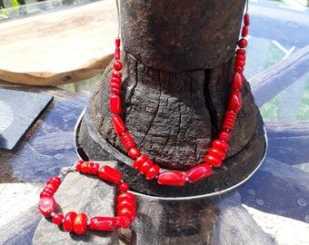Coral Necklace and Bracelet Set