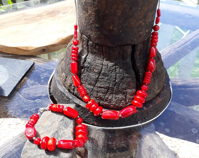 Coral, Sterling Silver Necklace and Bracelet Set, Handmade