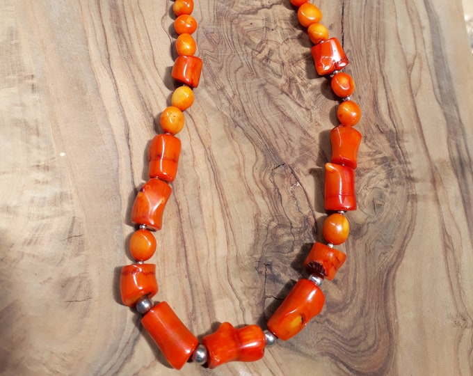 Coral and Sterling Silver Necklace, Handmade