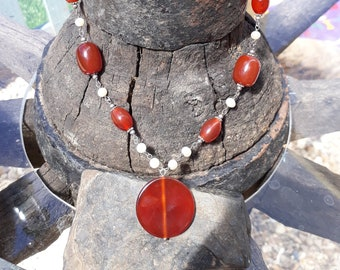 Vintage Carnelian and Silver Necklace