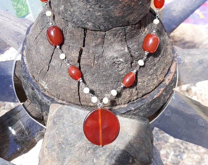 Vintage Handmade Carnelian and Fresh Water Pearl Necklace, with Silver Fittings.