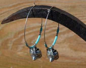 Large Silver and Turquoise Hoops With Wolves