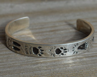 Zuni Fetish Paw Print Bangle, Solid Sterling Silver