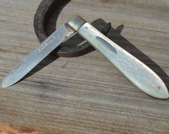 Antique Silver Mother of Pearl Fruit Knife, c1899