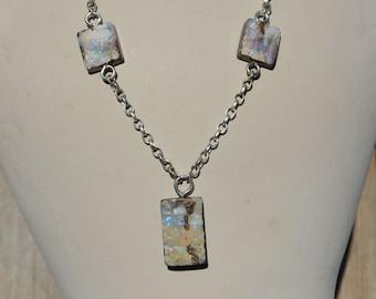 Large Silver Boulder Opal Necklace, Australian Opal