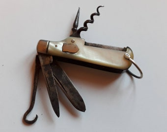 Antique Multi Tool Knife with Gold Spine,  Victorian Joseph Beal and Sons
