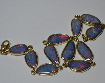 9ct Gold Australian Opal Doublet Bracelet, Fierce Colours