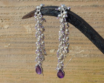 Long Amethyst and Sterling Silver Dropper Earrings