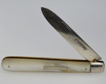 Sterling Silver and Mother of Pearl Fruit Knife, Antique Fruit Knife