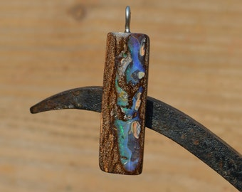 Large Silver Boulder Opal Pendant, Australian Opal