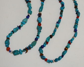 Kingman Turquoise and Coral or Carnelian Layered Necklace