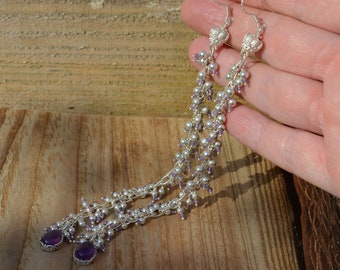Long Amethyst and Sterling Silver Dropper Earrings