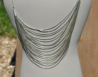 Liquid Silver Layered Necklace, Graduating