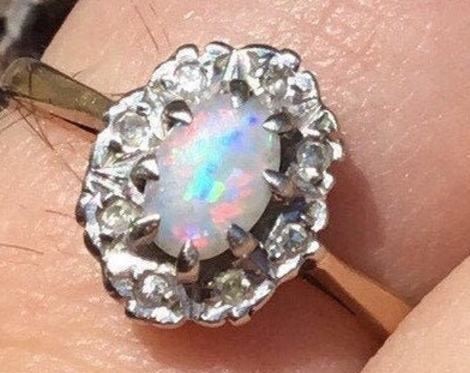 Gold Opal and Diamond Engagement Ring, Gold Opal Ring, 9ct Opal Diamond Ring