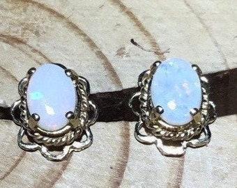 9ct Gold Opal Stud Earrings, Handmade