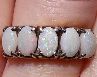 9ct Opal Half Eternity Ring