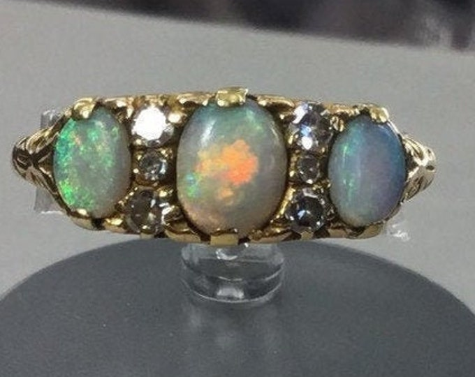 18ct Gold Opal Diamond Ring, Gold and Opal Ring, Antique Gold Opal Ring, Antique Opal and Diamond