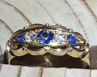 Antique 18ct Gold Sapphire and Diamond Ring, Antique Boat Shape