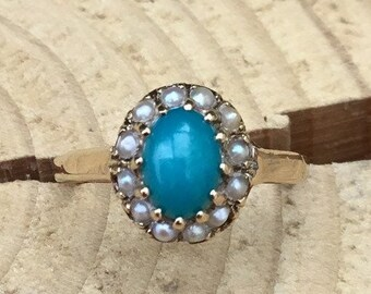 9ct Turquoise and Seed Pearl Ring