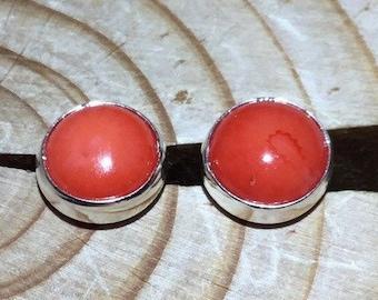 Handmade Silver Coral Round Stud Earrings