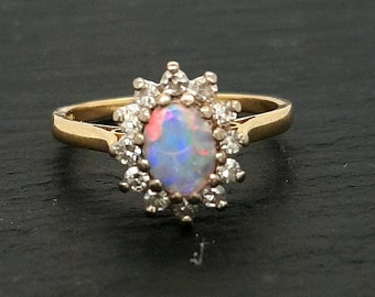 18ct Gold Opal and Diamond Halo Ring, Australian Crystal Opal