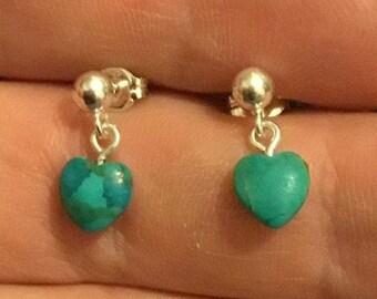 Turquoise Heart Drop Earrings, Silver Heart Earrings
