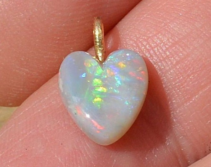 Featured listing image: 18ct Gold Black Opal Heart Pendant, Double Sided Australian Opal