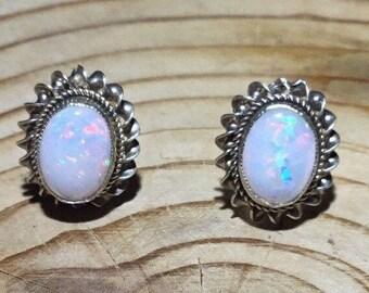 Handmade Gold Opal Stud Earrings
