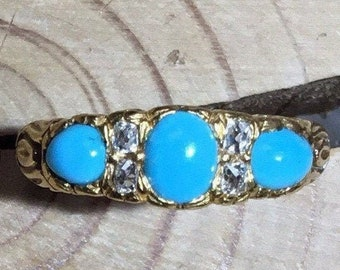 Victorian 18ct Gold Turquoise and Diamond Ring