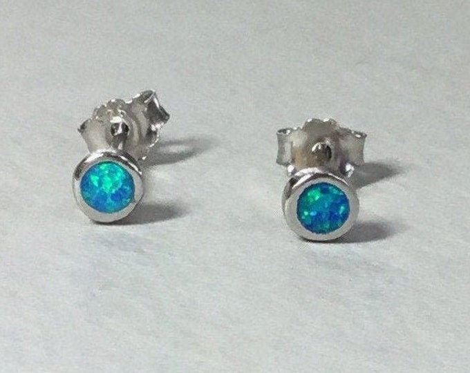 Silver Round Opal Studs, Plain Opal Earrings, Small Silver Opal Earrings