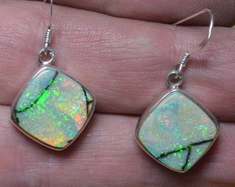 Large Handmade Square Silver Boulder Opal Drop Earrings