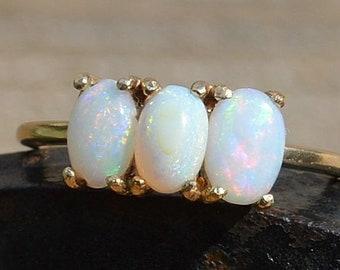 9ct Gold Opal Ring, Mismatched Australian Opal