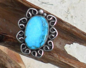 Sterling Silver and Turquoise Ring, Adjustable
