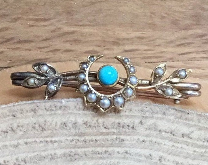 Antique Turquoise and Seed Pearl Brooch