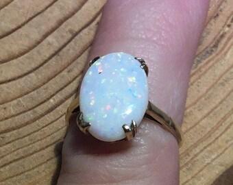9ct Australian Opal Ring, Vintage Large Opal
