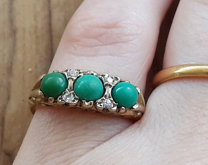 9ct Turquoise and Diamond Ring, Vintage