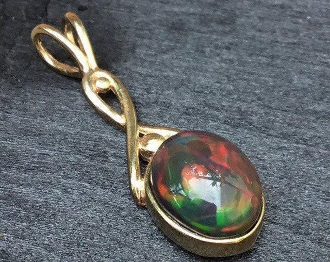 9ct Opal Pendant, Gold Black Opal Pendant, Black Opal Pendant