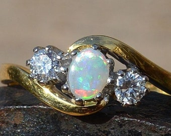 18ct Gold Australian Opal and Diamond Engagement Ring