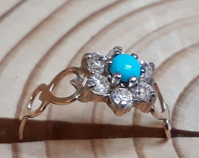 9ct Turquoise and Cubic Zirconia Ring