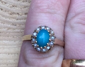 Vintage 9ct Gold Turquoise and Pearl Ring